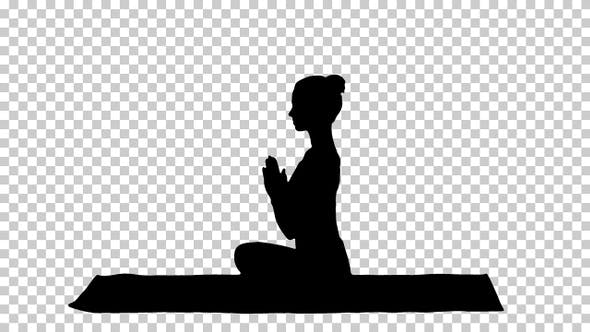 Thumbnail for Silhouette Young sporty attractive woman practicing yoga