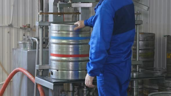 Thumbnail for Worker Wash Keg From a Beer on a Beer Line. Beer Keg Production Line. Brewery.