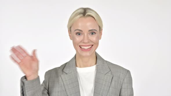 Thumbnail for Businesswoman Waving Hand To Welcome on White Background