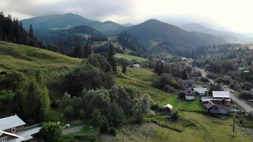 Village at Ukrainian Carpathian Mountains