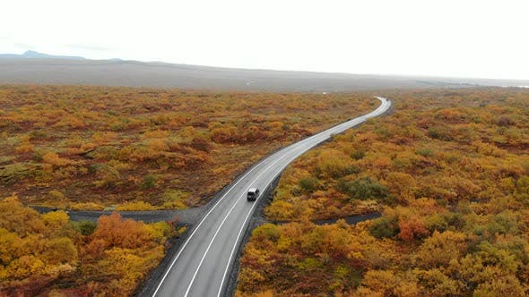 Aerial View of Car Driving Along Road in an Autumn Landscape, Iceland, National Park Thingvellir