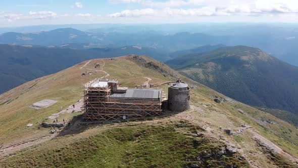 Aerial View Top of Pip Ivan Chernogorsky Mountain and Carpathian Mountain Range