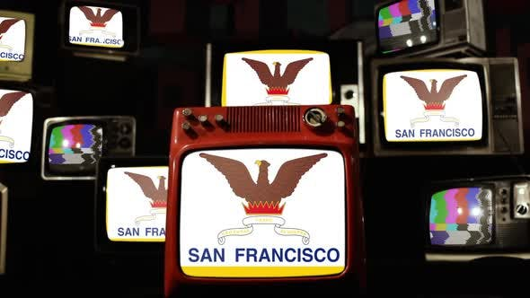 The flag of the City and County of San Francisco and Retro TVs.