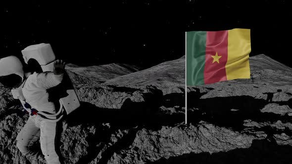 Cover Image for Astronaut Planting Cameroon Flag on the Moon