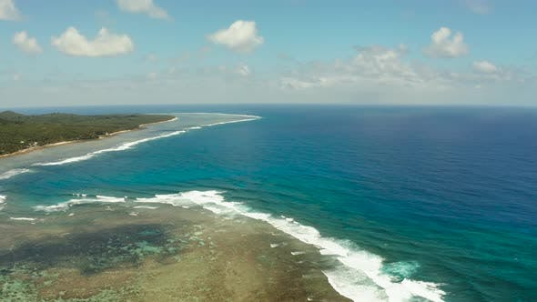 Thumbnail for The Coast of Siargao Island, Blue Ocean and Waves.