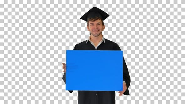 Thumbnail for Smiling graduate male in mortarboard holding, Alpha Channel