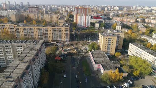 Aerial view of construction site in the city 01