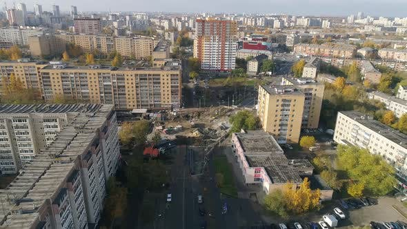 Aerial view of construction site in the city