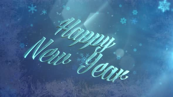 Abstract blue snow falling and animated closeup Happy New Year text on shiny background