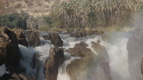 Felsiger Wasserfall und Palmen