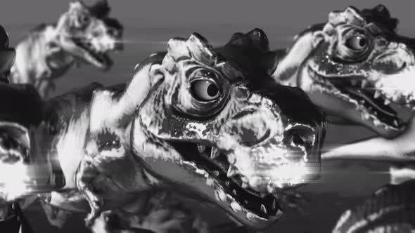4K Metal running dinosaurs