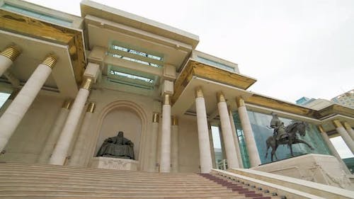 Mongolian Parliament Building and Statue of Genghis Khan in Ulaanbaatar Square Capital of Mongolia