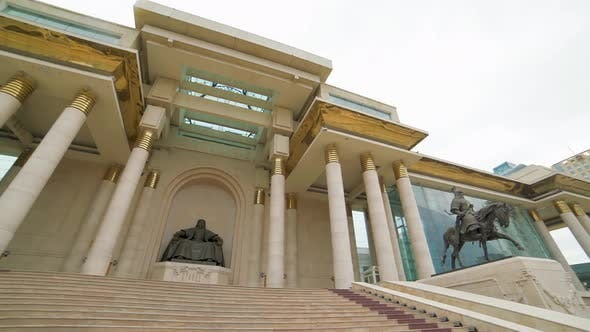 Thumbnail for Mongolian Parliament Building and Statue of Genghis Khan in Ulaanbaatar Square Capital of Mongolia