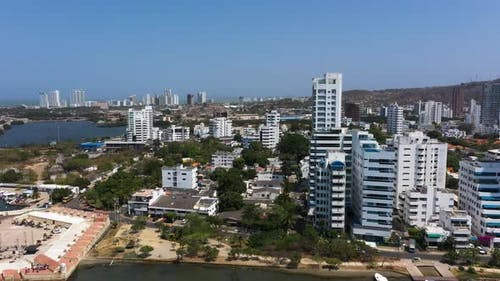 Tall Apartment Buildings in the Modern Disctrict of Cartagena, Colombia
