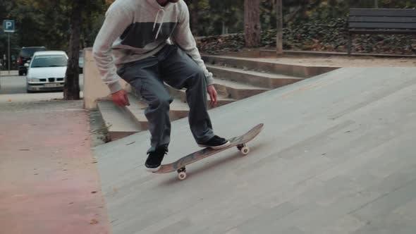 Thumbnail for Professional Skater Jump with Kickflip Flip Trick on Board, Skateboarder Ollie, Skateboarding