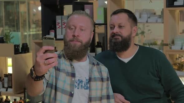 Thumbnail for Two Bearded Men Taking Mobile Selfie Indoor