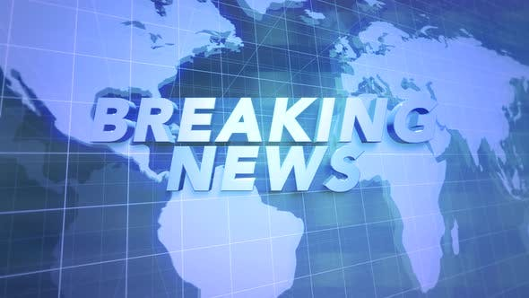 Text Breaking News and news intro graphic with blue lines and world map in studio