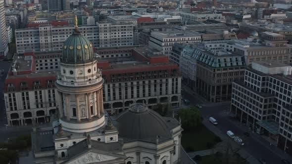 AERIAL: Empty Berlin Gendarmenmarkt Square with View on German Church During Coronavirus COVID 19