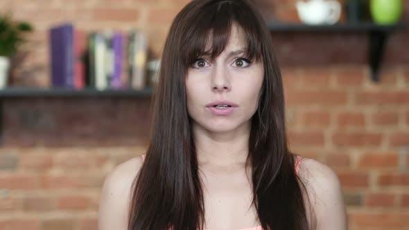 Amazed, Surprise, Excited Brunette Woman, Indoor