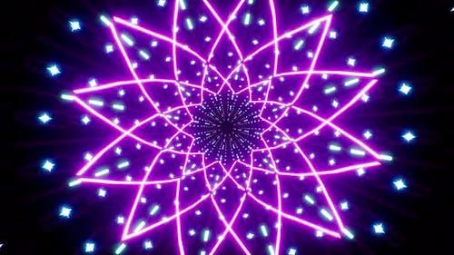 Purple Flower Shape Light Tunnel 4K Loop