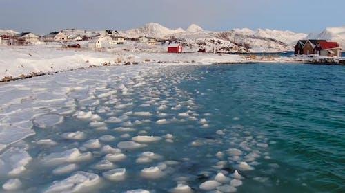 Aerial view of Sommaroya island near Tromso, northern Norway, Arctic