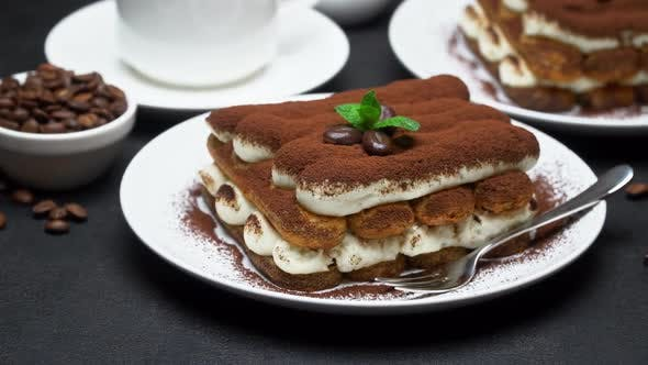 Thumbnail for Classic Tiramisu Dessert, Cup of Coffee, Sugar and Milk on Concrete Background