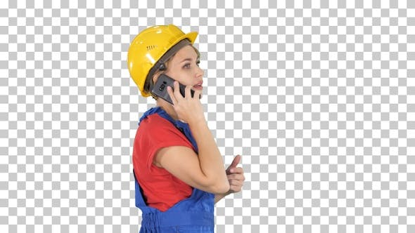 Thumbnail for Beautiful young builder woman wear a yellow safety helmet