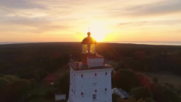 Thumbnail for Aerial Shot At Sunset Of Old Lighthouse Built In 1531