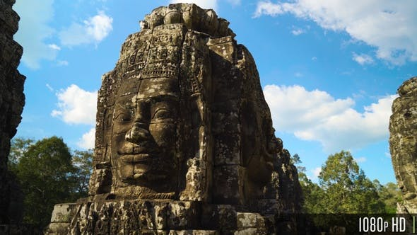 Thumbnail for Ancient Stone Faces of Bayon Temple inside of Angkor Thom in Siem Reap, Cambodia