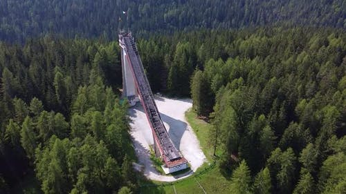 Aerial View of Trampoline Olympic Italia  Ski Jumping Slide Built for Winter Olympics in 1956
