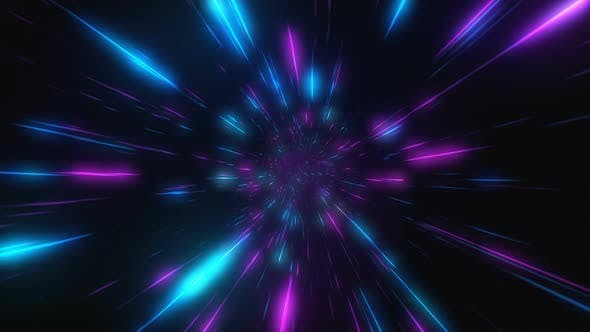 Thumbnail for Abstract Flight in Retro Neon Hyper Warp Space in the Tunnel