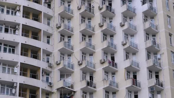 Thumbnail for Apartments in a Multi-story Building or Skyscraper. Panoramic View of the Exterior.