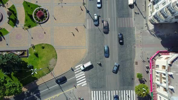 Aerial shot of the central street