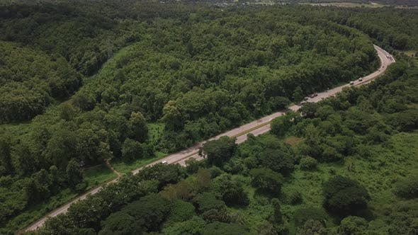 Thumbnail for Aerial View Of Countryside Road Passing Through The Mountain Landscape 03