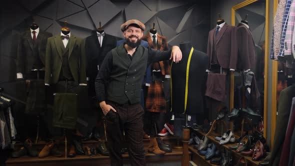 Creative Stylist Portrait. Bearded Tailor Portrait. Handmade Costume Designer Works in His Store