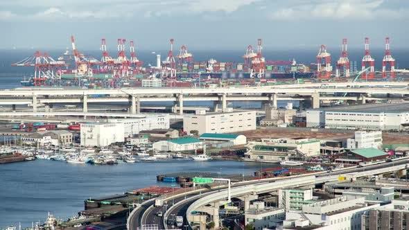Yokohama Huge Dockland Area on Day Time Timelapse