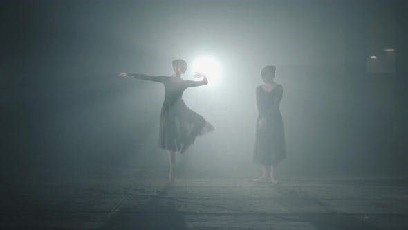 Thumbnail for Ballet Dancers Shows Classic Ballet Pas in Spotlight on Black Background in Studio. Two Graceful