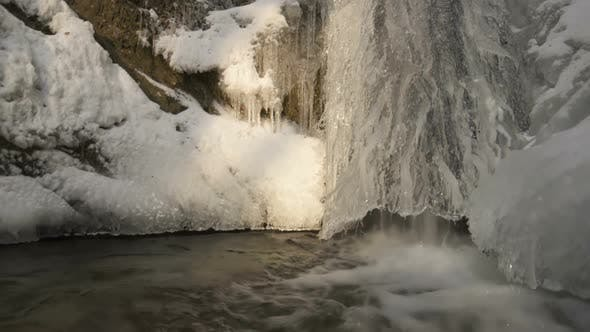 Thumbnail for Frozen Waterfall Stream in Cold Winter