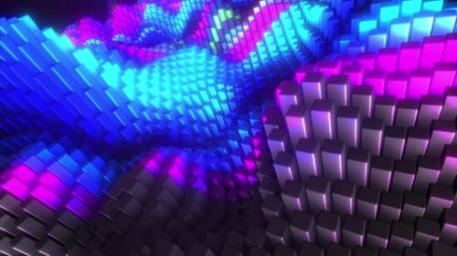 Abstract Colorful Cubic Surface in Random Motion