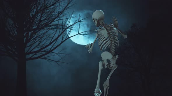 Thumbnail for Dancing Skeleton on the Background Full Moon Night Sky