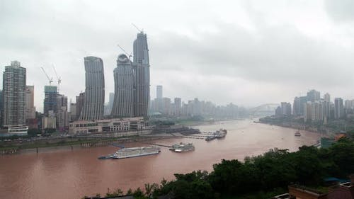 Cloudy Chungking Yangtze River in Southwest China Timelapse