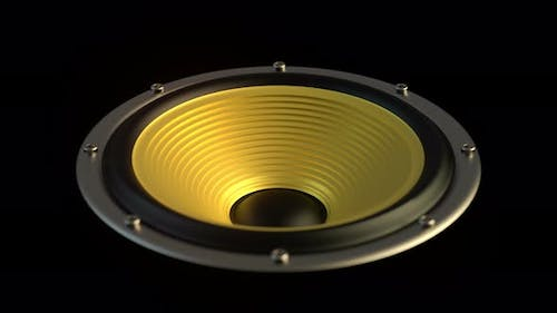 Isolated Audio Speaker with Yellow Membrane Playing Looped Modern Music