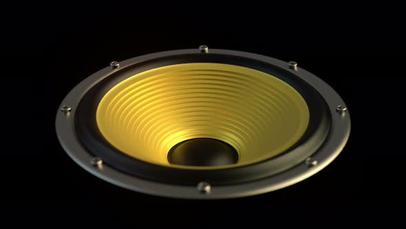 Thumbnail for Isolated Audio Speaker with Yellow Membrane Playing Looped Modern Music