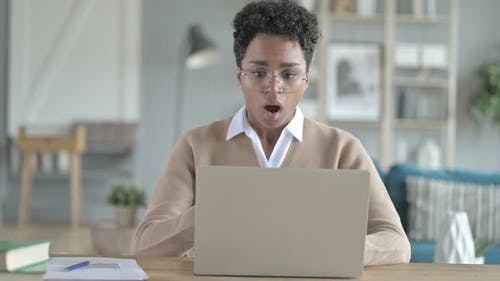 African Girl Get Stressed While Working on Laptop