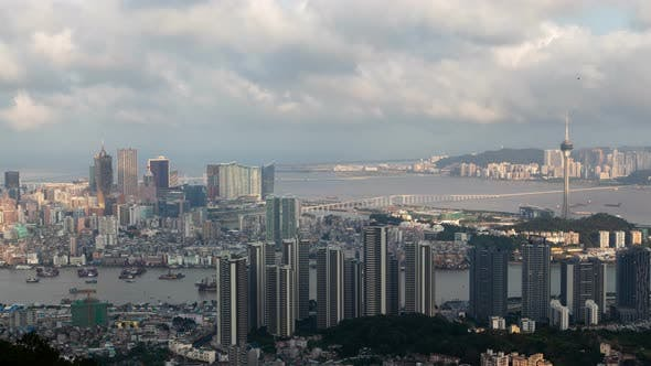 Thumbnail for Macau Peninsula with Cathedral Chinese TV Tower Timelapse