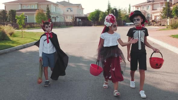 Thumbnail for Children in Costumes Going Trick-or-Treating