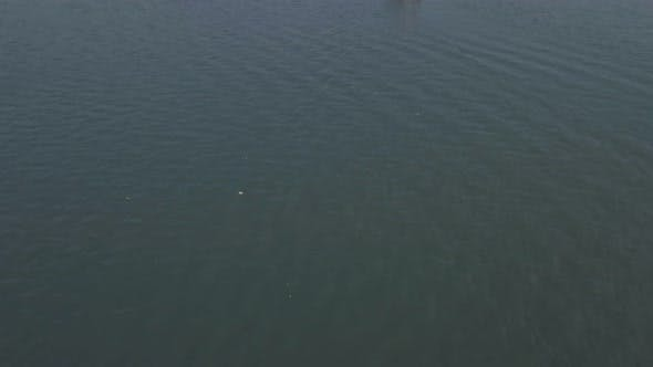 Houseboat trip in lake at Kerala backwaters at Alleppey, India. Aerial drone view
