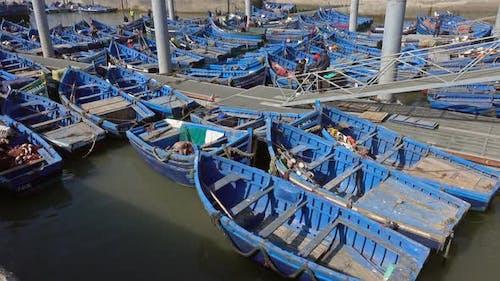 Blue Fishing Boats in Port of Essaouira, Morocco