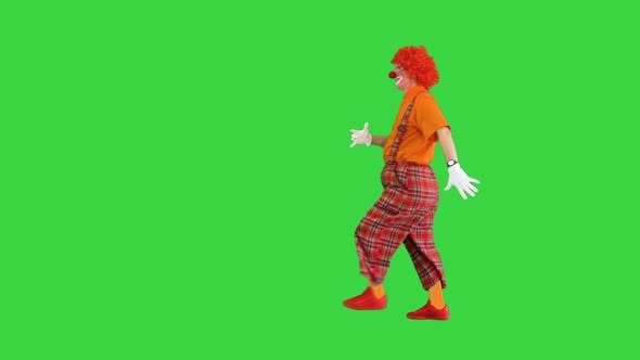 Clown Walking in and Saying Hello Waving His Hand To Camera on a Green Screen Chroma Key