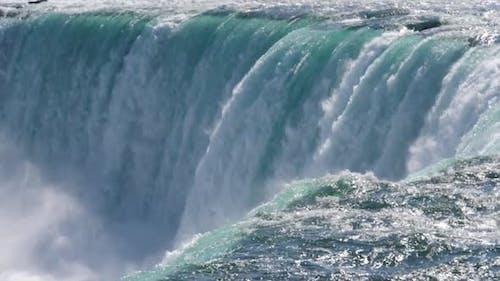 Super slow motion (180fps) close-up view of Niagara Falls, Canada